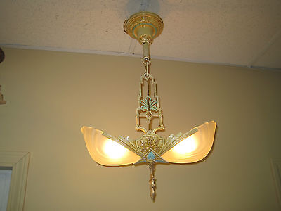 1930s Art Deco Slip Shade 2 Light hanging Hall Fixture Light