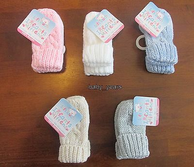 Baby Knitted Mittens Gloves Pink Blue White Boys Girls Cable Knit Winter 0-12M
