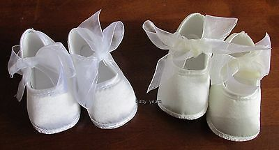 Baby Girls Christening Baptism Shoes White Ivory Ribbon Soft Pram Shoe New