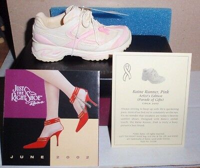 2002 Just The Right Shoe Raine Runner, Pink Sneaker Pink Ribbon Coa Boxed