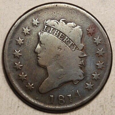 """1814 Large Cent, S-295 """"Bearded"""" Variety, LDS, Very Good   1104-03"""