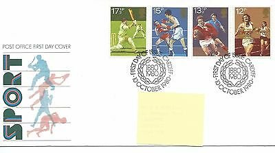 GB - FIRST DAY COVER - FDC - COMMEMS -1980- SPORT - Pmk CARDIFF