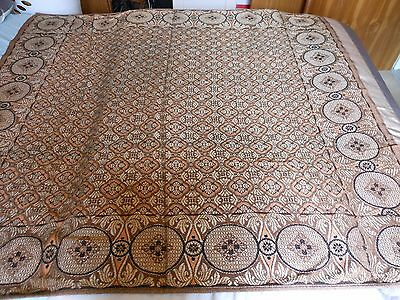 Vintage Woven Brocade Tablecloth  Bronze  Metalic