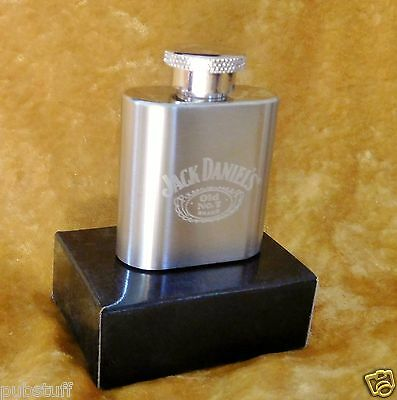 JACK DANIELS STAINLESS STEEL 1oz POCKET FLASK ~ GENUINE MERCHANDISE IN GIFT BOX