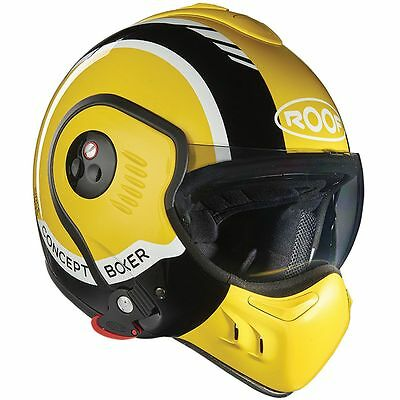 Roof Boxer V8 LP20 Yellow Motorcycle Motorbike Convertible Helmet All Sizes