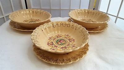 Sebring TROJAN Individual Serving Fruit Bowl With Saucer Made in USA 22K Gold (1