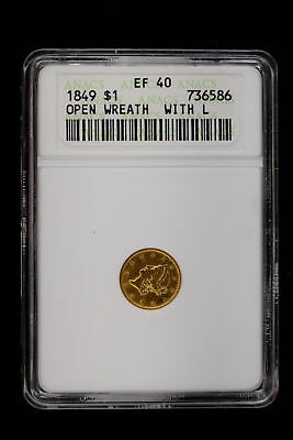1849 Liberty Head Gold Dollar $1 Anacs Certified Ef 40 Open Wreath With L (586)