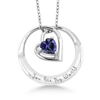 "925 Sterling Silver ""You Are My World"" Iolite Diamond Accent Pendant"