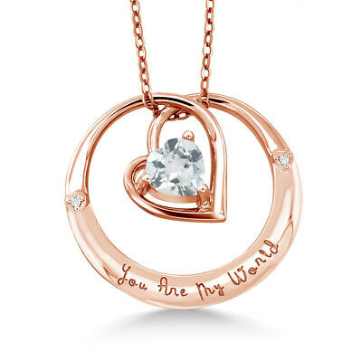 """925 Rose Gold Plated Silver """"You Are My World"""" Aquamarine Diamond Accent Pendant"""