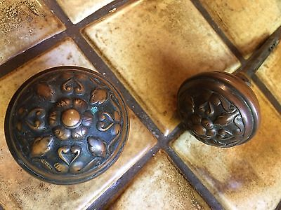 2  Vintage  Victorian Brass   Door  Knobs  & a  SHAFT