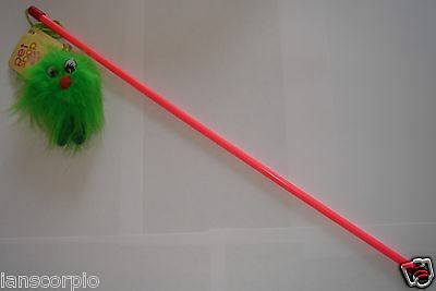 Cat Kitten Toy Teaser Toy Pole Wand With Bell Bright Colours ***new***