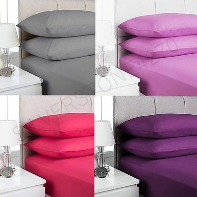 100% Egyptian Cotton Extra Deep Fitted Valance Sheets Single Double King