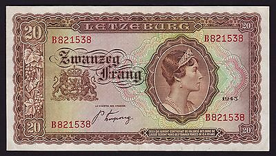 Luxembourg 20 Francs Banknote 1943 P-42a