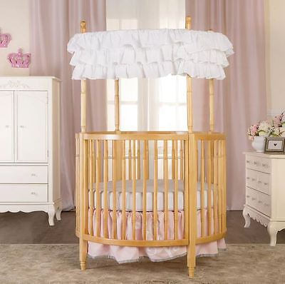 Round Mini Crib Baby Infant Solid Wood Baby Toddler Nursery Circular Canopy New