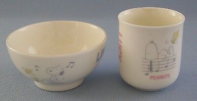 Snoopy Rice Bowl Tea Cup Linus Lucy Woodstock Musical Instruments 1958 Peanuts