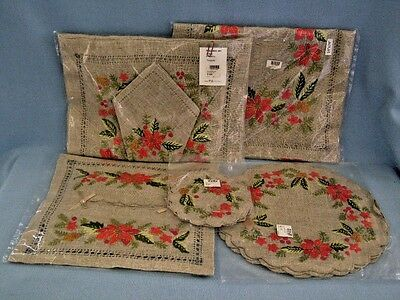 Holiday Poinsettia Embroidered Linens Xmas Table Runner Coaster Placemats Napkin