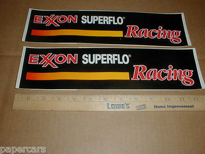 2 Exxon Superflo vintage original Oil Gasoline drag racing Decal stickers 1990s