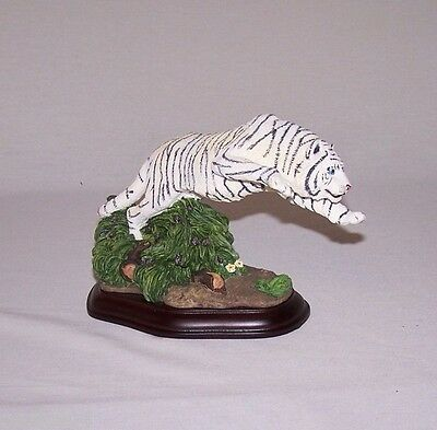 Leaping  White Tiger On A Wood Base Figurine