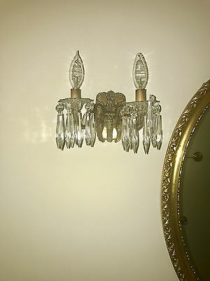 Antique brass & crystal wall sconces