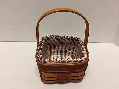 Longaberger Basket Sweetheart Collection Red Accent Liner & Protector 1993 VGC