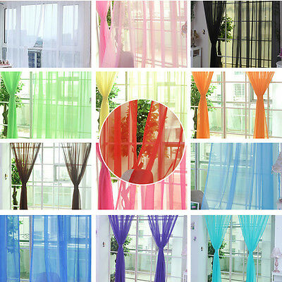 Pure Color Tulle Door Window Screening Curtain Drape Panel Sheer Scarf Valances