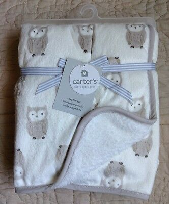 "New Carters White Owl Blanket Velboa Polyester Sherpa 30x40"" Rectangle Brown Tan"