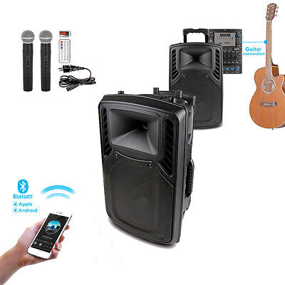 "300W 12"" PA System Active Speaker Bluetooth USB Wireless Mic AUX Guitar in"