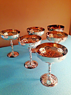 Silver Gold Plated Vtg Champagne Glasses Goblets Cups Set Of 6