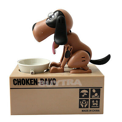 Choken Puppy Hungry Eating Dog Coin Bank Money Saving Box Piggy Bank Present