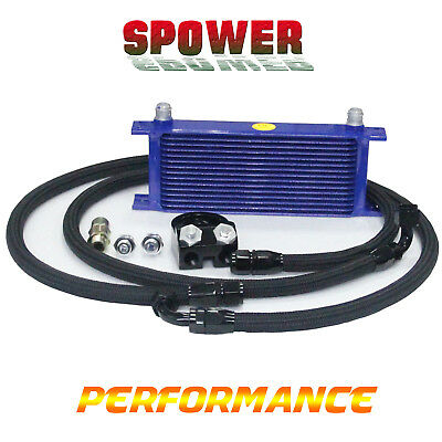15 Row AN10 Engine Oil Cooler + 3/4*16 & M20 Filter Relocation Adapter Kit Black