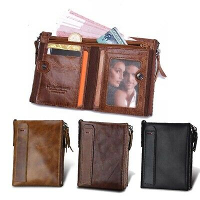 Real  Genuine Leather wallet Men Double Zip Coin Wallet Credit Card Purse Cash