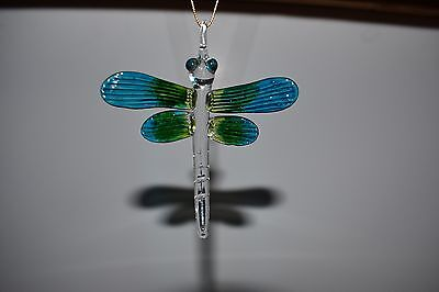 Hanging Dragonfly Blue Green Figurine of Blown Glass Crystal