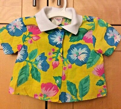 Vintage 80's Toddler Girl's Yellow & Multi-color Floral Hawaiian Aloha Shirt 3T