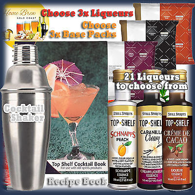 Top Shelf HOME BREW LIQUEUR ESSENCES 3pk - IDEAL BIRTHDAY GIFT