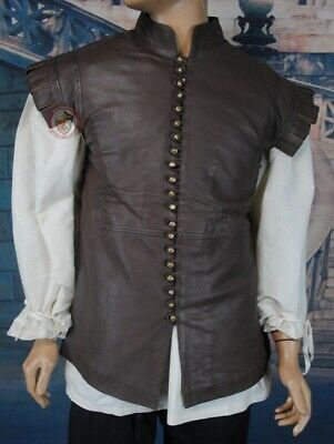Thigh Length Leather Jerkin Vest Historical Reenactment