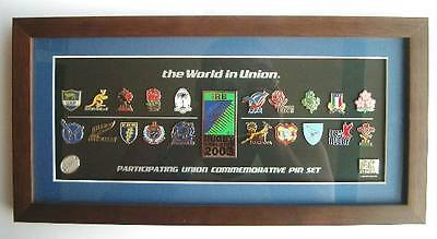 2003 Rugby World Cup Team Logo Pins Unframed