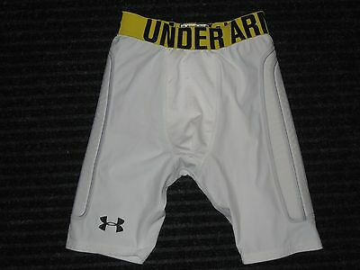 Under Armour Cup Pocket Compression Padded Pad Shorts Boys Youth Large YLG White