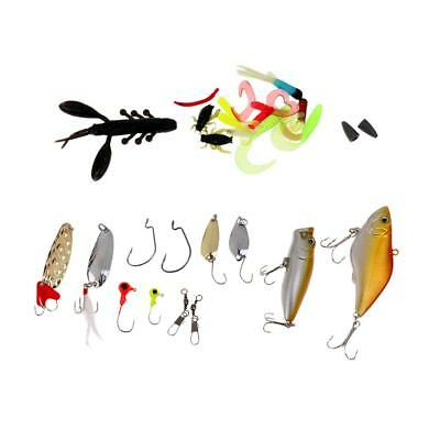 28 Pieces Fishing Lure Set Spinners Hooks Spoons Soft Bait Pike Trout Salmon