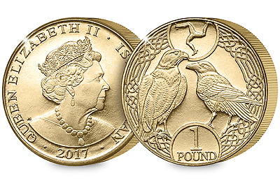 2017 Isle of Man Raven and Falcon BU £1 Coin [Ref 162T]