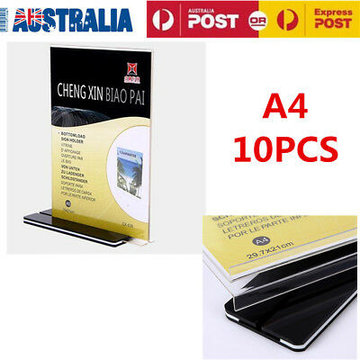 10x A4 Size Sign Holder Acrylic Retail Display Stands Menu Restaurant Display AU
