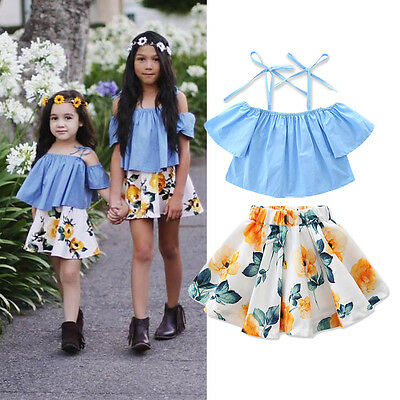 Fashion Kids Baby Girls Off Shoulder Floral Tops Skirt Dress Outfits Clothes US