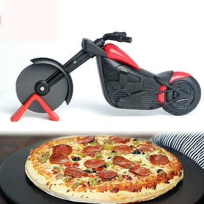 Non-stick Pizza Wheel Cutter Chopper Slicer Kitchen Tools Motorcycle Stand  KP