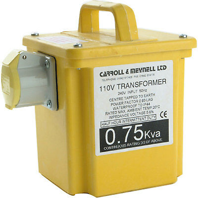 Carroll & Meynell 0.75Kva 240v to 110v Step Down Site Transformer with 1 Socket