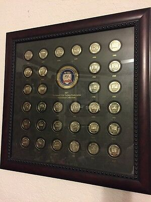 1976-2007 WILD TURKEY FEDERATION MEDALLION (Coin) COLLECTION IN BEAUTIFUL FRAME
