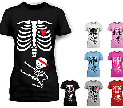 Womens Skeleton Baby Ninja Kick Maternity Pregnancy Halloween T Shirt T-Shirt