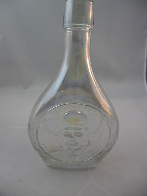 """Charles Lindbergh""  8"" Tall Wheaton N.J. Clear Iridescent Bottle; Vintage"
