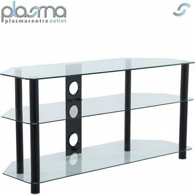 Clear Glass and Black Leg Corner TV Stand for 32 34 37 40 42 43 46 47 48 49 50