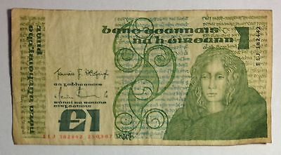 Central Bank of Ireland 1 One Pound Note 1987