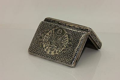 Antique Original Silver Niello  Anatolain Ottoman Cigarette Case