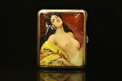 Antique  Original Perfect European Silver  Naked Lady Decorated Cigarette Case